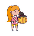 happy thanksgiving day little girl holding pumpkin vector image vector image