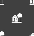 house icon sign Seamless pattern on a gray vector image