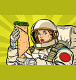 hungry woman astronaut with shawarma kebab vector image vector image