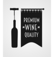 Logotype concept with wine bottle corkscrew and vector image