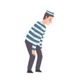 male prisoner in striped clothing man playing vector image vector image