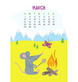 march calendar page with cute rat in camping vector image vector image