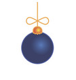 merry christmas blue ball toy isolated on white vector image vector image