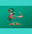 merry christmas papercut santa claus sled card vector image