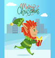 merry christmas with elf carrying gift vector image vector image