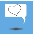 message icon with heart and shadow vector image vector image