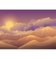 Mountains at sunset with color clouds Sunrise vector image vector image