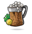 mug of beer with clover and money vector image vector image