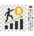 person climbing bitcoin chart icon with bonus vector image vector image