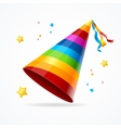 Realistic Party Hat with a Rainbow Pattern vector image vector image