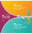 realistic zippers banner 1 2 3 concept vector image vector image