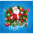 santa claus with bell in christmas wreath frame vector image vector image