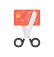 scissors cutting credit card vector image