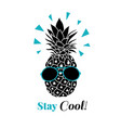 stay cool pineapple wearing colorful vector image vector image