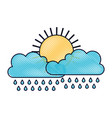 sun and cloud with rain in colored crayon vector image vector image