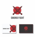 sword crossed abstract fight logo vector image vector image