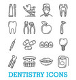 thin line icons dentistry medicine vector image vector image