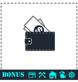 Wallet icon flat vector image vector image