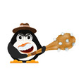 abstract evil penguin with a hat and a primitive vector image vector image
