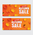 autumn sale with leaves in paper art style vector image