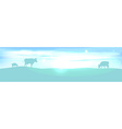 banner with lightening landscape and cow vector image vector image