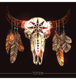 Buffalo Skull With Feathers American Totem vector image