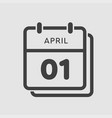 calendar day 1 april days year vector image vector image
