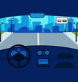 car interior inside steering wheel and dashboard vector image vector image