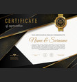 certificate template with golden elements vector image vector image