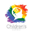 child logotype with brain and question in rainbow