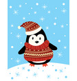 christmas a penguin in a hat vector image