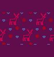 christmas deer heart and snowflake seamless vector image vector image