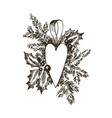 christmas hand drawn toy heart and fur tree vector image vector image