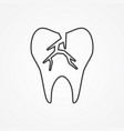 cracked tooth flat icon for dental care vector image