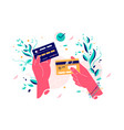 credit cards in female hands vector image vector image