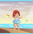 cute little girl on beach vector image