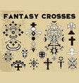 design set with fantasy crosses 5 vector image