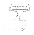 dotted shape hand with paint roller tool to vector image vector image