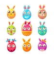 egg shaped easter bunny in different designs vector image vector image