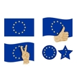 European Union flag icons set vector image vector image