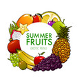 exotic and tropical fruits mango apple grapes vector image vector image