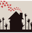 from a house pipe hearts take off a vector image