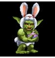 Funny green Troll in Bunny suit with ball vector image vector image