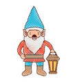 gnome with hand lamp in colored crayon silhouette vector image vector image