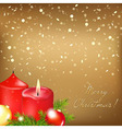 Gold Christmas Card With Red Candle vector image vector image
