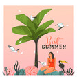 hand drawn abstract cartoon summer time vector image vector image