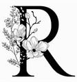 hand drawn floral uppercase r monogram and vector image vector image