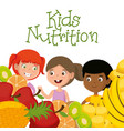 happy kids with nutrition food vector image vector image