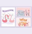 happy valentines day cute couple flamingo cats vector image vector image