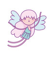 happy valentines day cute cupid with pink hair vector image